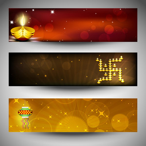 Website Headers Or Banners For For Hindu Community Festival Diwali Or Deepawali. Eps 10