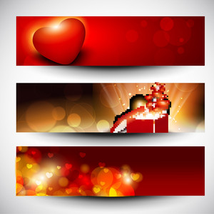 Website Headers Or Banners With Love Concept.