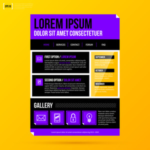 Website Template On Bright Yellow Background In Modern Corporate Style. Eps10