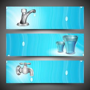 Website Water Header Or Banner Set