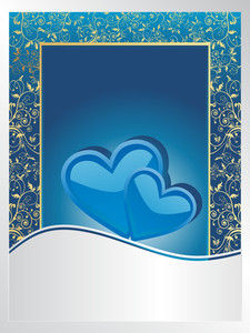 Wedding Anniversary Card On Blue And Silver Background