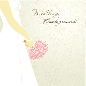 Wedding Bacground. Bride With Bouquet