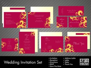 Wedding Invitation Kit With Vector Illustration In
