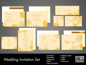 Wedding Invitation Kit With Vector Illustration In