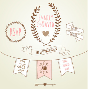 Wedding Invitation Template. Chalkboard Style Vector Card