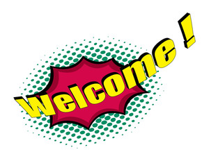 Welcome Retro Text Banner