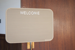 Welcome sign in office