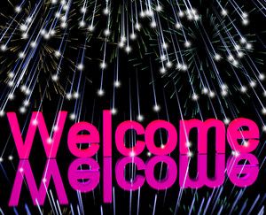 Welcome Word With Fireworks Showing Greeting Of Hospitality