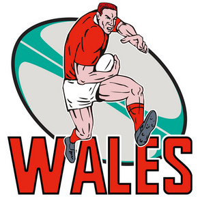 Welsh Rugby Player Running Ball Wales