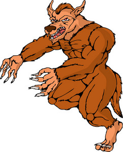 Werewolf Wolfman Running Attacking