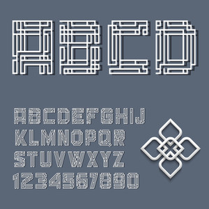 White Alphabet Letters And Numbers In Mayan Style