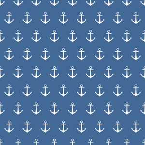 White Anchors Pattern On A Blue Riverboat Background