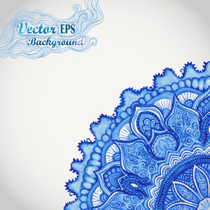 White And Blue Ornament.watercolor Vector Gzhel. Doily Corner Lace Pattern