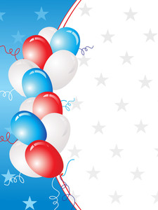 White And Blue Star Background With Balloons