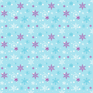 White And Purple Snowflake Pattern On Blue Frozen Inspired Paper