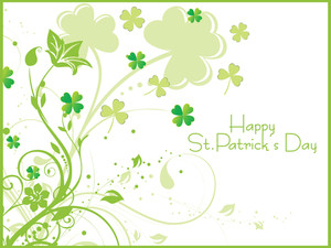 White Background With Shamrock Floral 17 March
