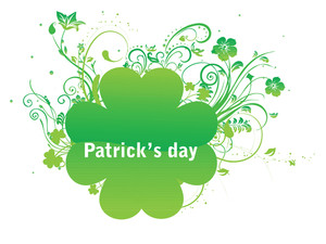 White Background With Swirl Design Shamrock 17 March