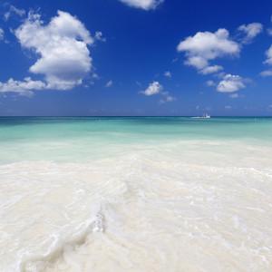 White boat along a tropical beach