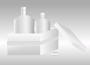 White Bottles With Box Vector