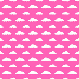 White Clouds Pattern On A Princess Pink Background