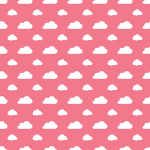 White Clouds Pattern On A Romantic Pink Background