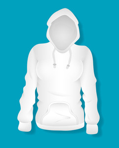 White Female Hoodie Design Vector Illustration Template