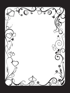 White Frame With Floral And Hearts On Black Background