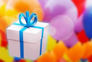 White Gift Box A Blue Bow