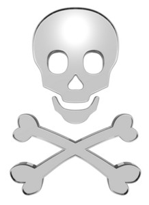 White Glass Skull And Crossbones Isolated On White.