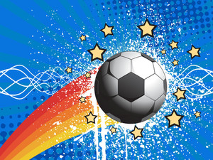 White Grunge Soccer With Blue Rays Background
