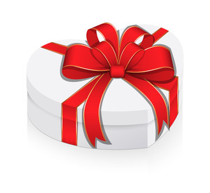White Heart Box Wrapped With Ribbon Bow