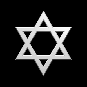 White Judaism Religious Symbol - Star Of David Isolated On Black.