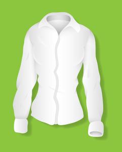 White Long Sleeves Female Shirt Design Vector Illustration Template