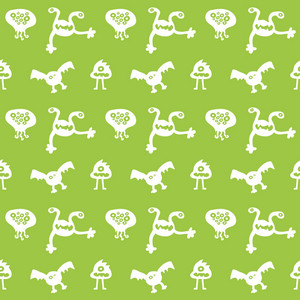 White Monsters Pattern On Green Paper