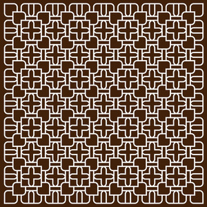 White Pattern In Islamic Style On Dark Brown Background
