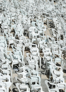 White Plastic Chairs Background