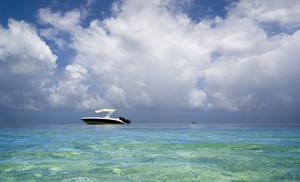 White pleasure boat on the ocean