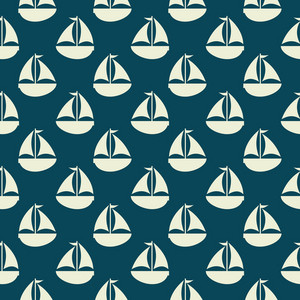 White Retro Sailboat Pattern On A Blue Background