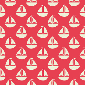 White Retro Sailboat Pattern On A Red Background