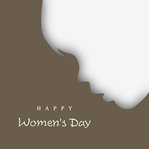 White Silhouette Of A Girl On Brown Background For Happy Women's Day.
