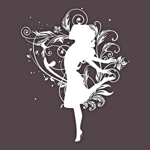 White Silhouette Of A Happy Girl On Floral Decorated Brown Background For Happy Women's Day.