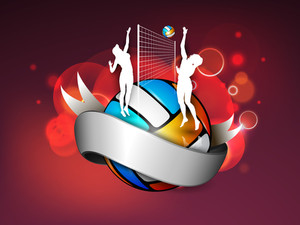White Silhouette Of Volleyball Girls Playing On A Colourful Volleyball And Shiny Silver Ribbon For Your Text.