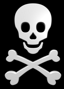 White Skull And Crossbones On The Black Background.