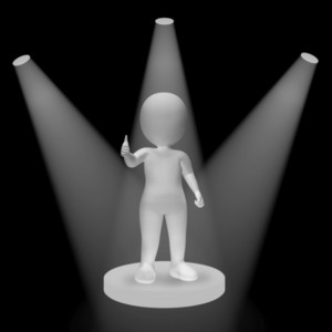 White Spotlights On Character Showing Success Fame And Performance