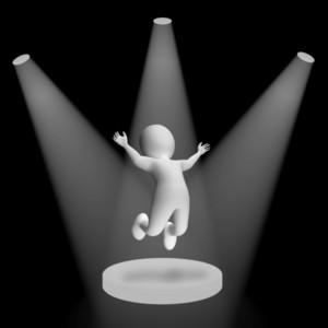 White Spotlights On Jumping Character Showing Fame And Performance