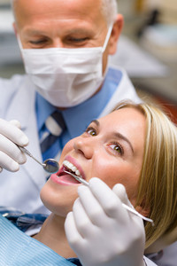 White teeth woman patient at the dentist decay prevention