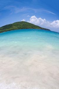 Wide angle fisheye view of the far eastern shore across from Flamenco beach on the beautiful Puerto Rican island of Culebra.