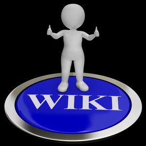 Wiki Button Shows Online Information Or Encyclopedia