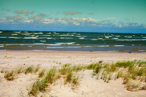 Wild Baltic sea beach in windy weather in Lithuania