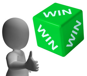 Win Dice Showing Success Winner And Champion